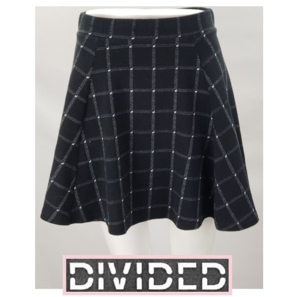 02064fbaa Divided Skirts | Black White Plaid Back Zip Skater Mini Skirt | Poshmark